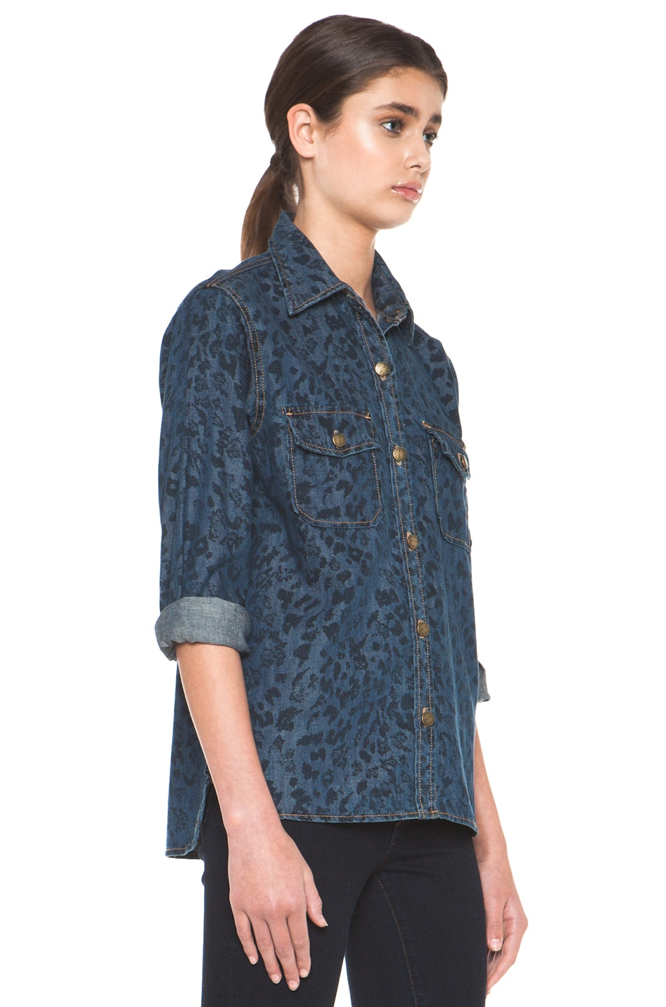 Image 3 of Current/Elliott The Perfect Shirt in Indigo Leopard