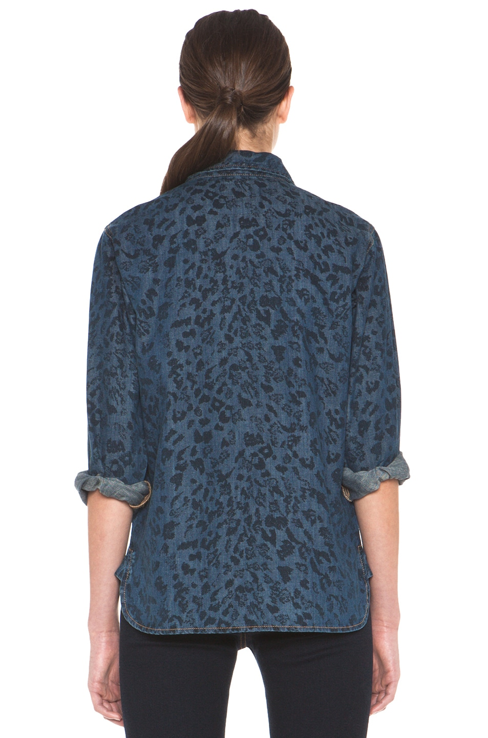 Image 4 of Current/Elliott The Perfect Shirt in Indigo Leopard