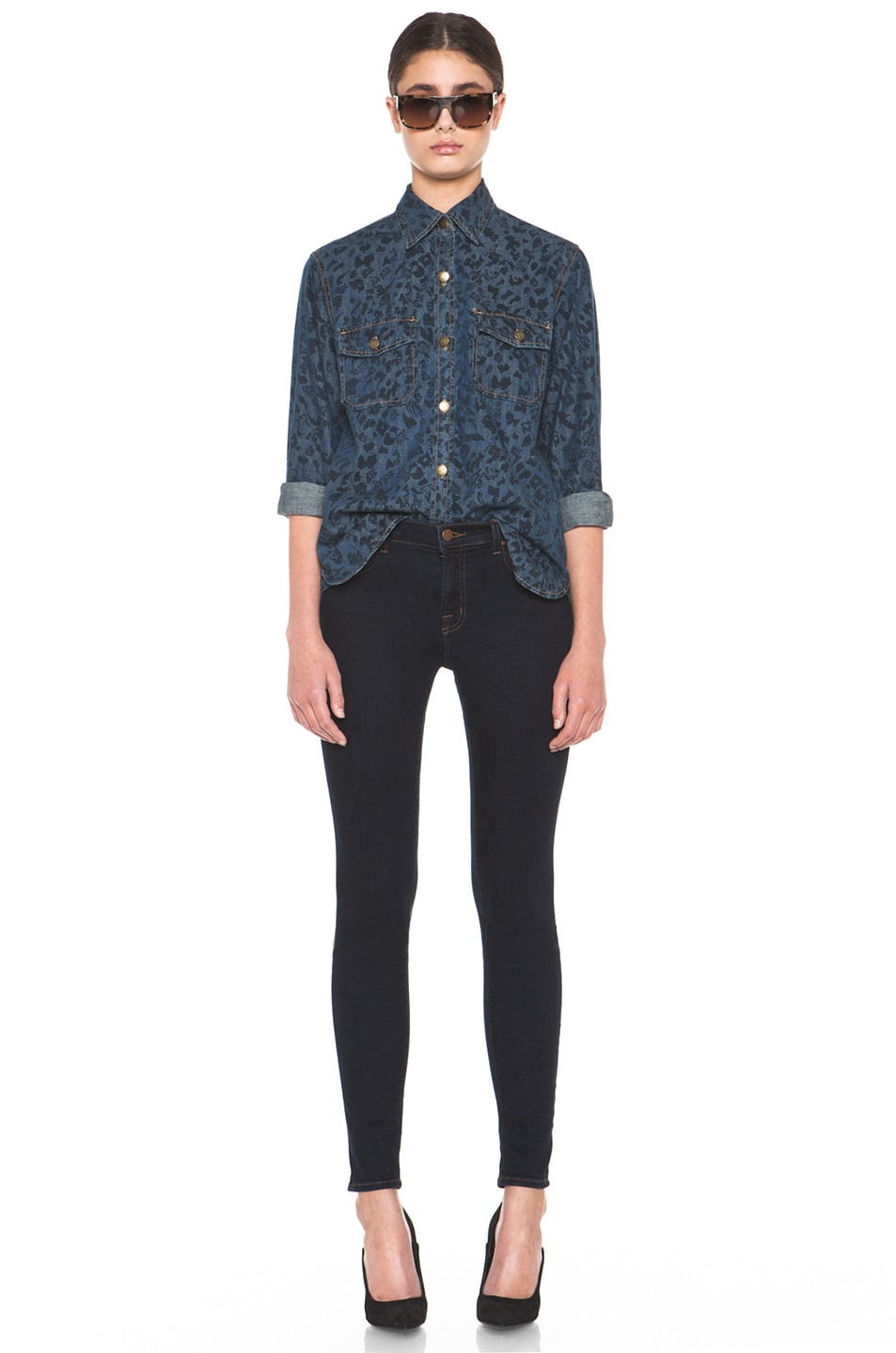 Image 5 of Current/Elliott The Perfect Shirt in Indigo Leopard