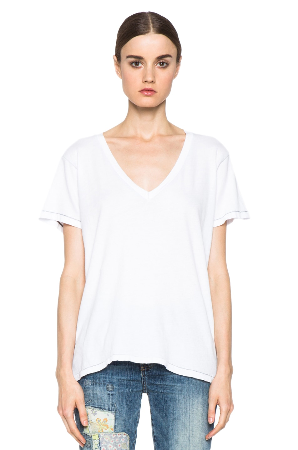 Image 2 of Current/Elliott The V Neck Cotton Tee in Sugar
