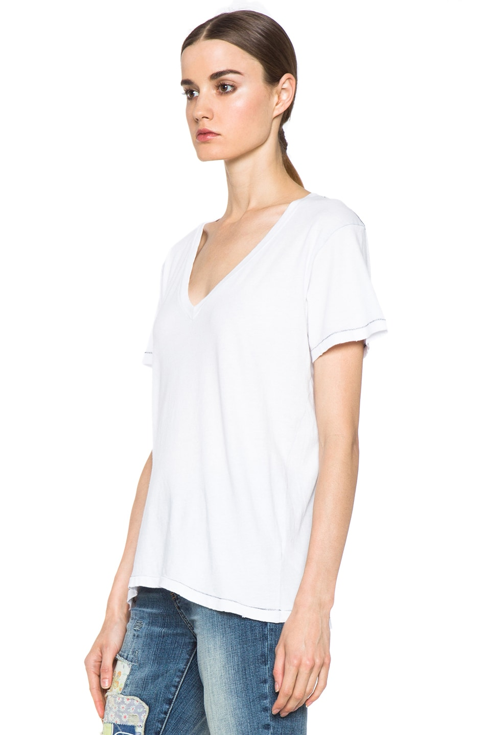 Image 3 of Current/Elliott The V Neck Cotton Tee in Sugar