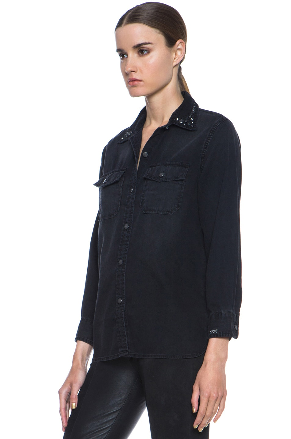 Image 2 of Current/Elliott Jean Perfect Shirt Without Epaulettes in Black & Jet