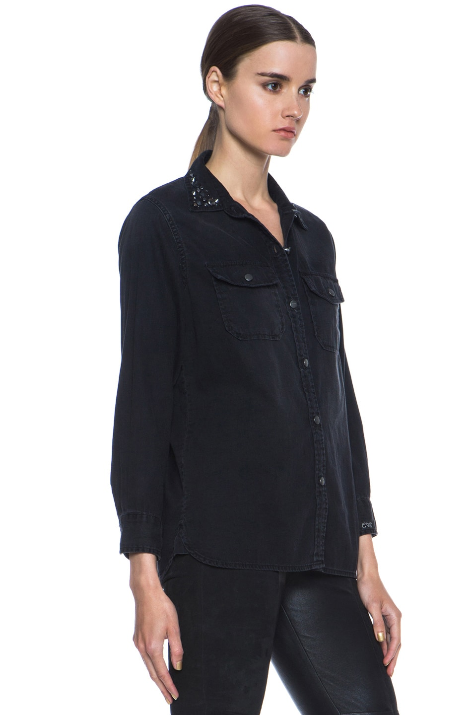 Image 3 of Current/Elliott Jean Perfect Shirt Without Epaulettes in Black & Jet