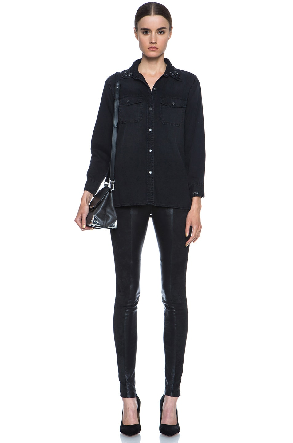 Image 5 of Current/Elliott Jean Perfect Shirt Without Epaulettes in Black & Jet
