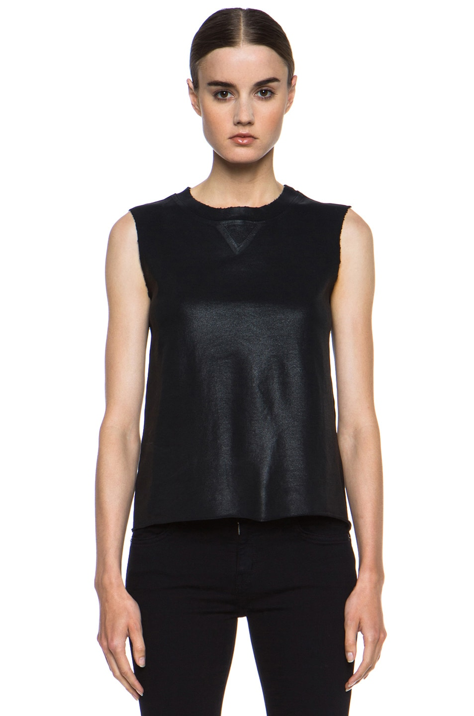 Image 1 of Current/Elliott Stadium Coated Cotton Tank in Black