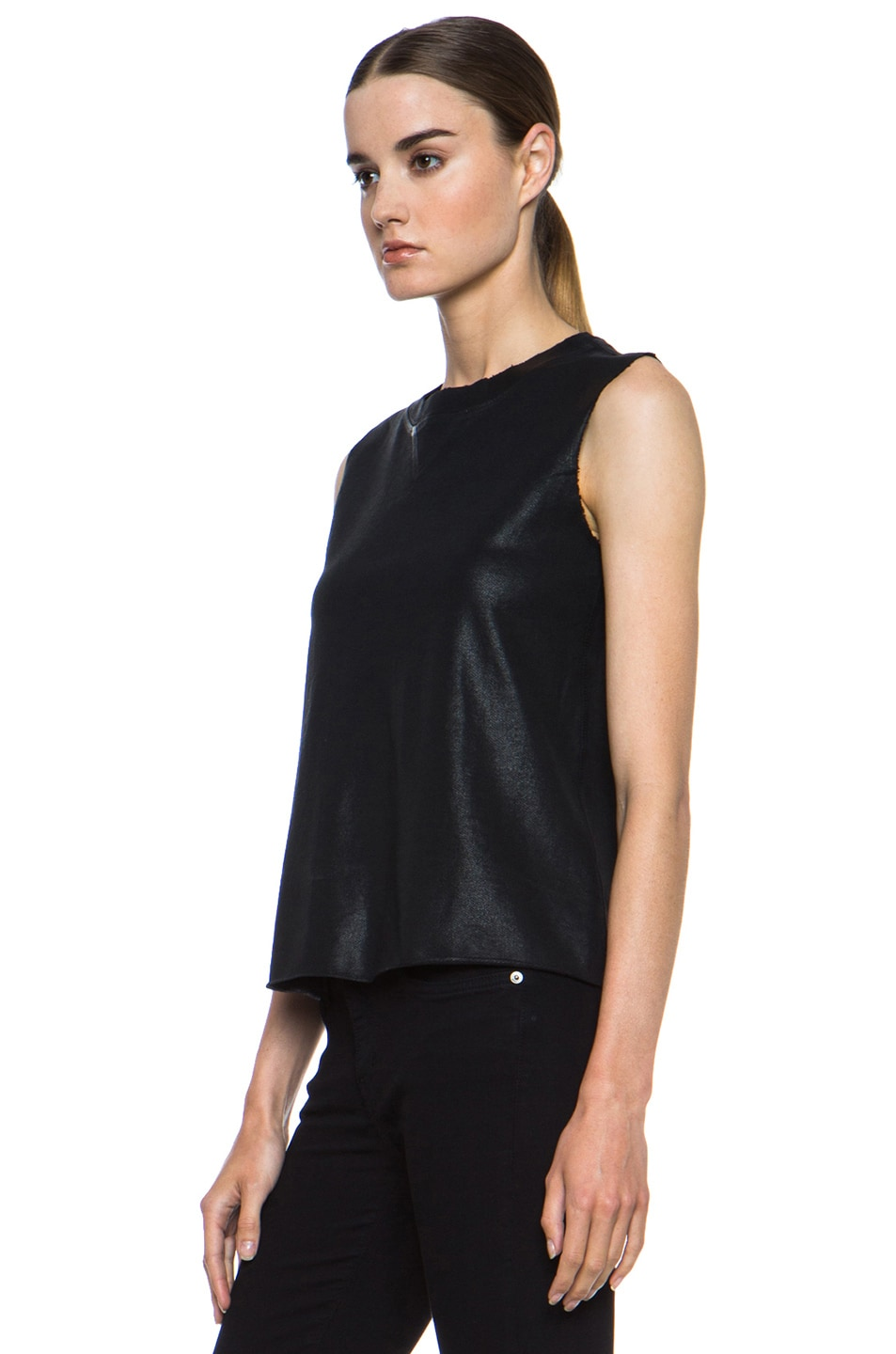 Image 2 of Current/Elliott Stadium Coated Cotton Tank in Black