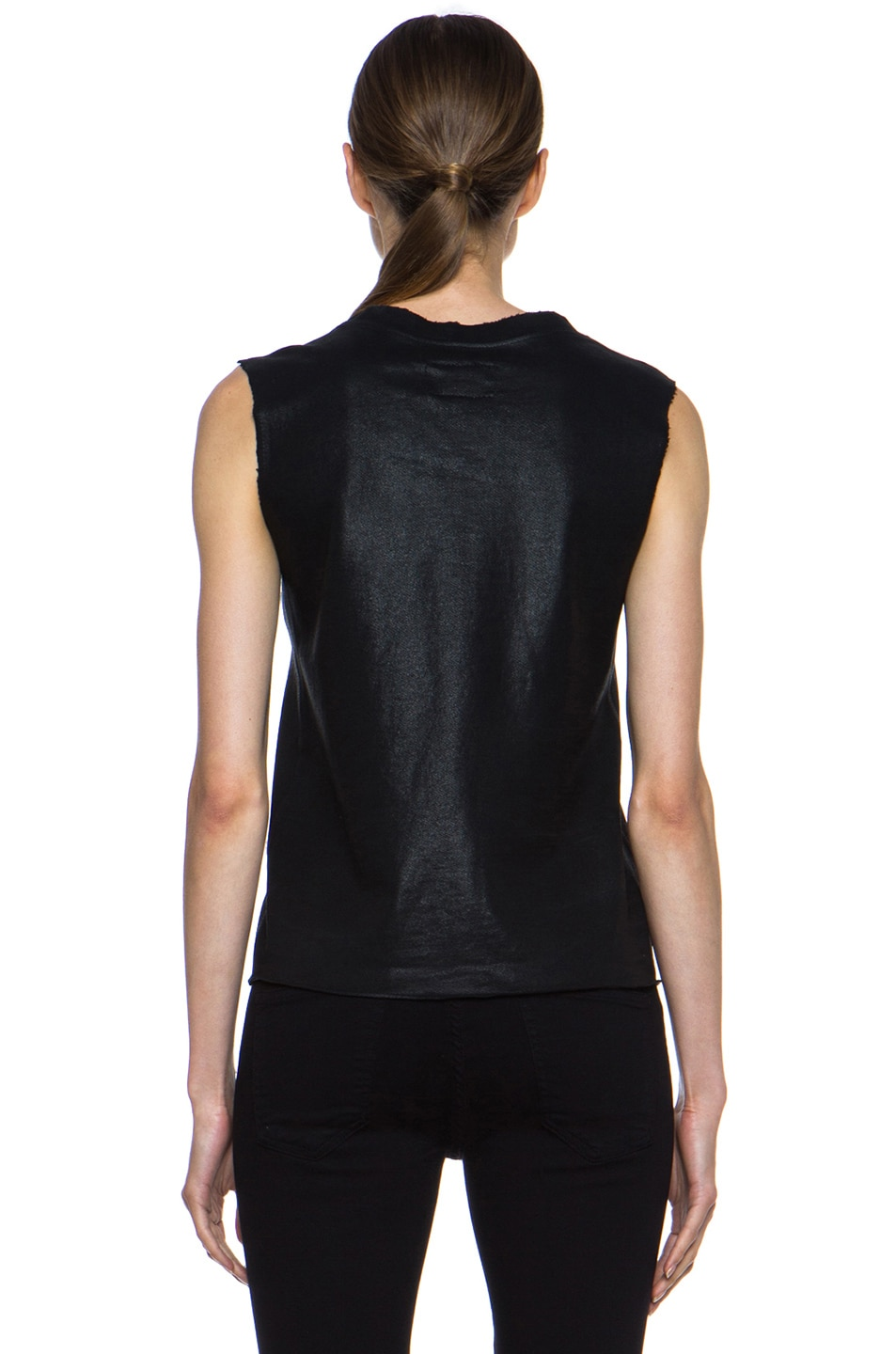 Image 4 of Current/Elliott Stadium Coated Cotton Tank in Black