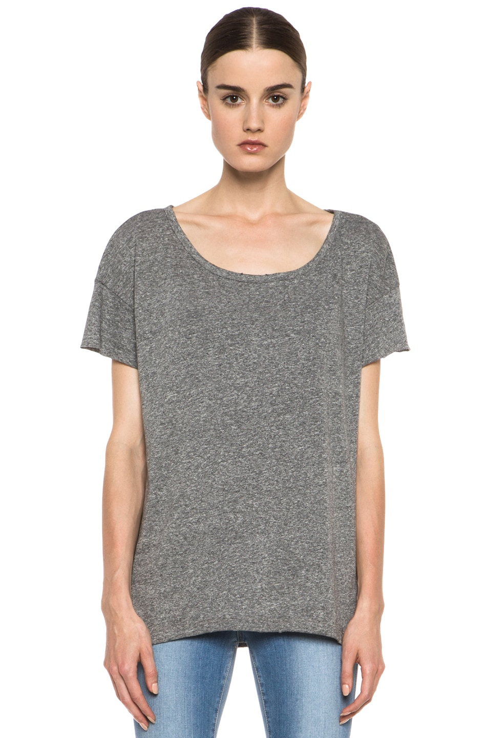 Image 1 of Current/Elliott The Oversized Poly-Blend Tee in Heather Grey
