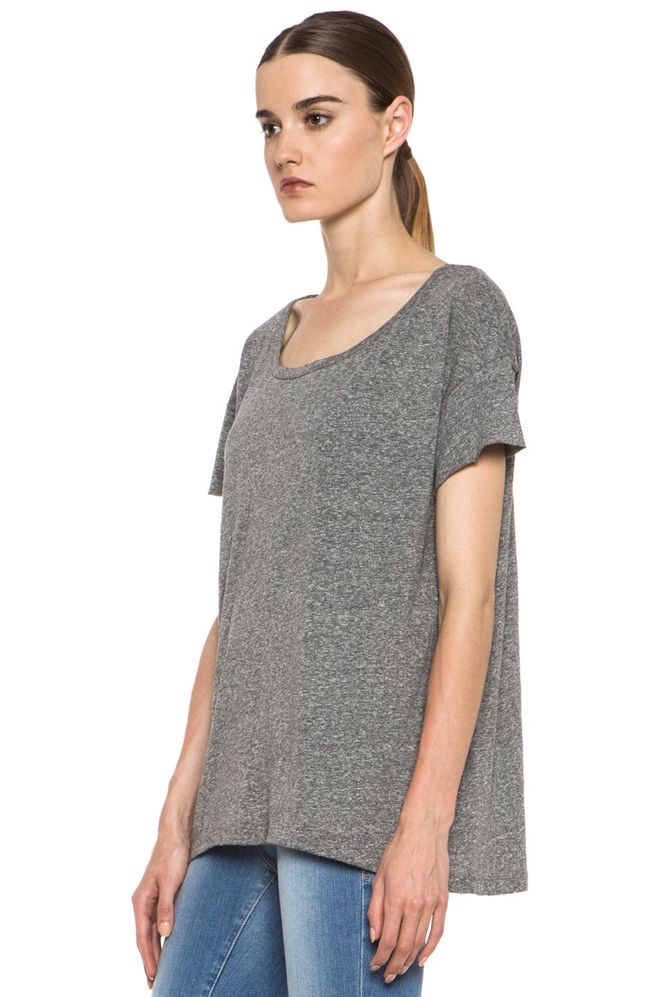 Image 2 of Current/Elliott The Oversized Poly-Blend Tee in Heather Grey