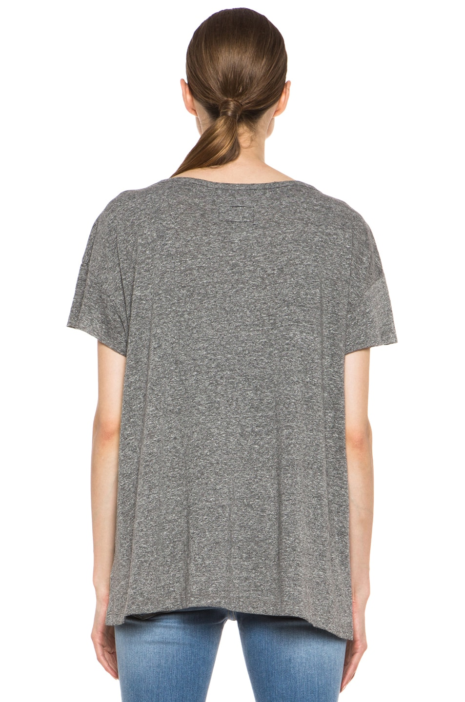 Image 4 of Current/Elliott The Oversized Poly-Blend Tee in Heather Grey