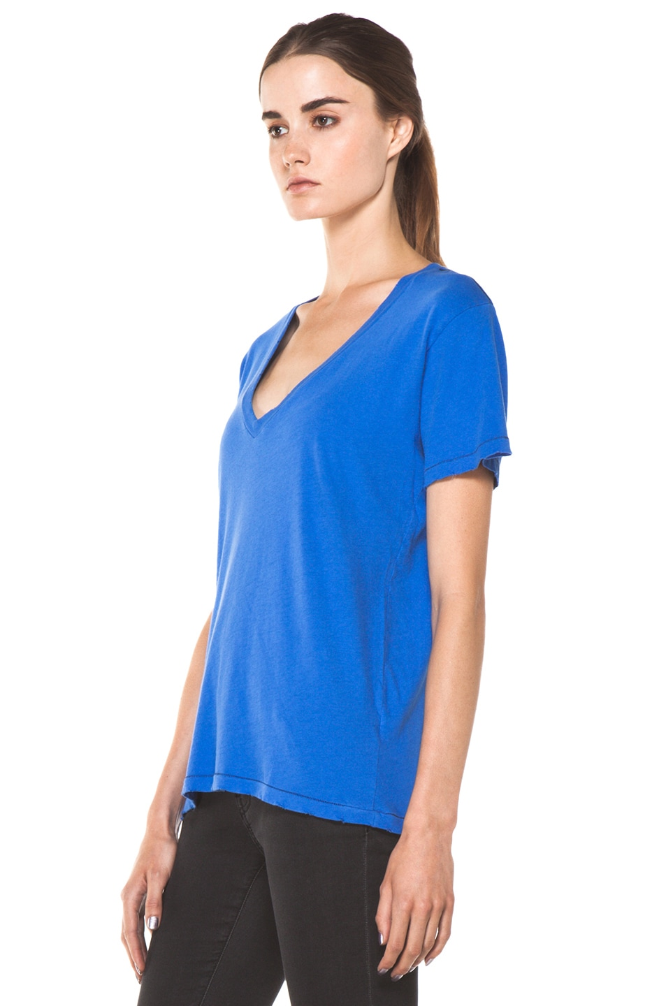 Image 2 of Current/Elliott The V Neck Tee in Cobalt