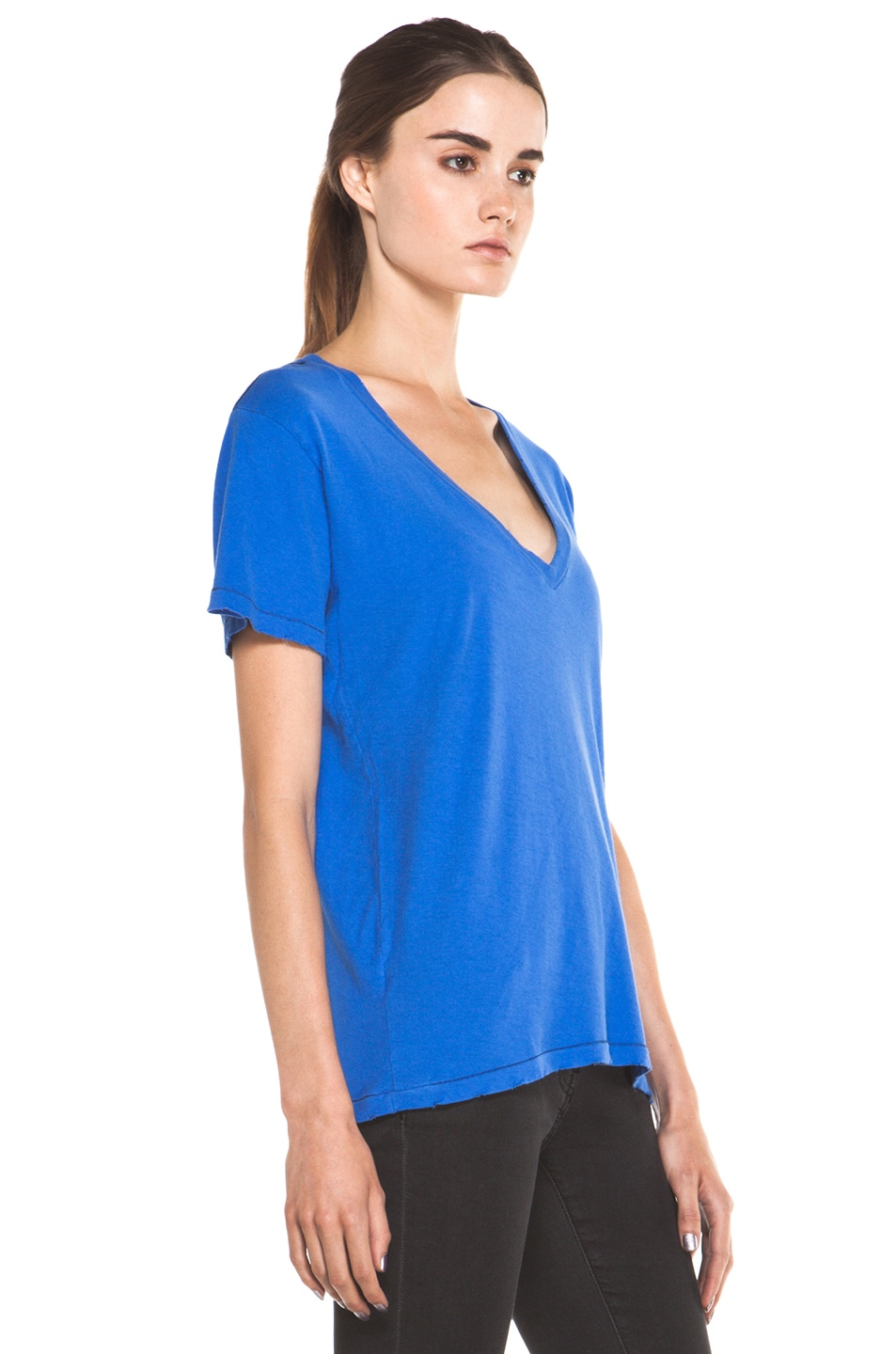 Image 3 of Current/Elliott The V Neck Tee in Cobalt