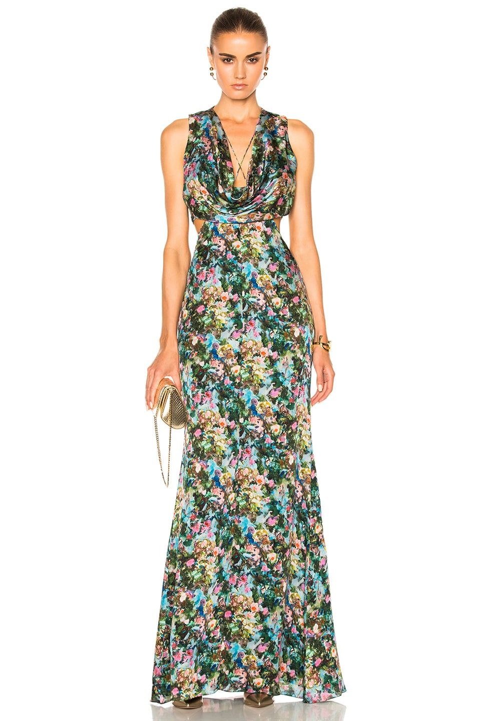 Image 1 of Cushnie et Ochs Christina Cowl Draped Gown in Floral Print