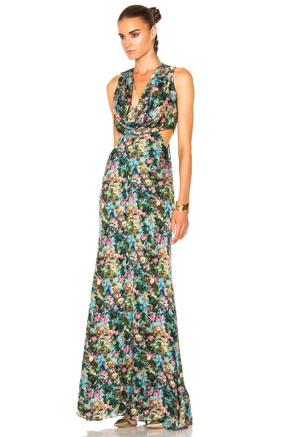 Image 2 of Cushnie et Ochs Christina Cowl Draped Gown in Floral Print