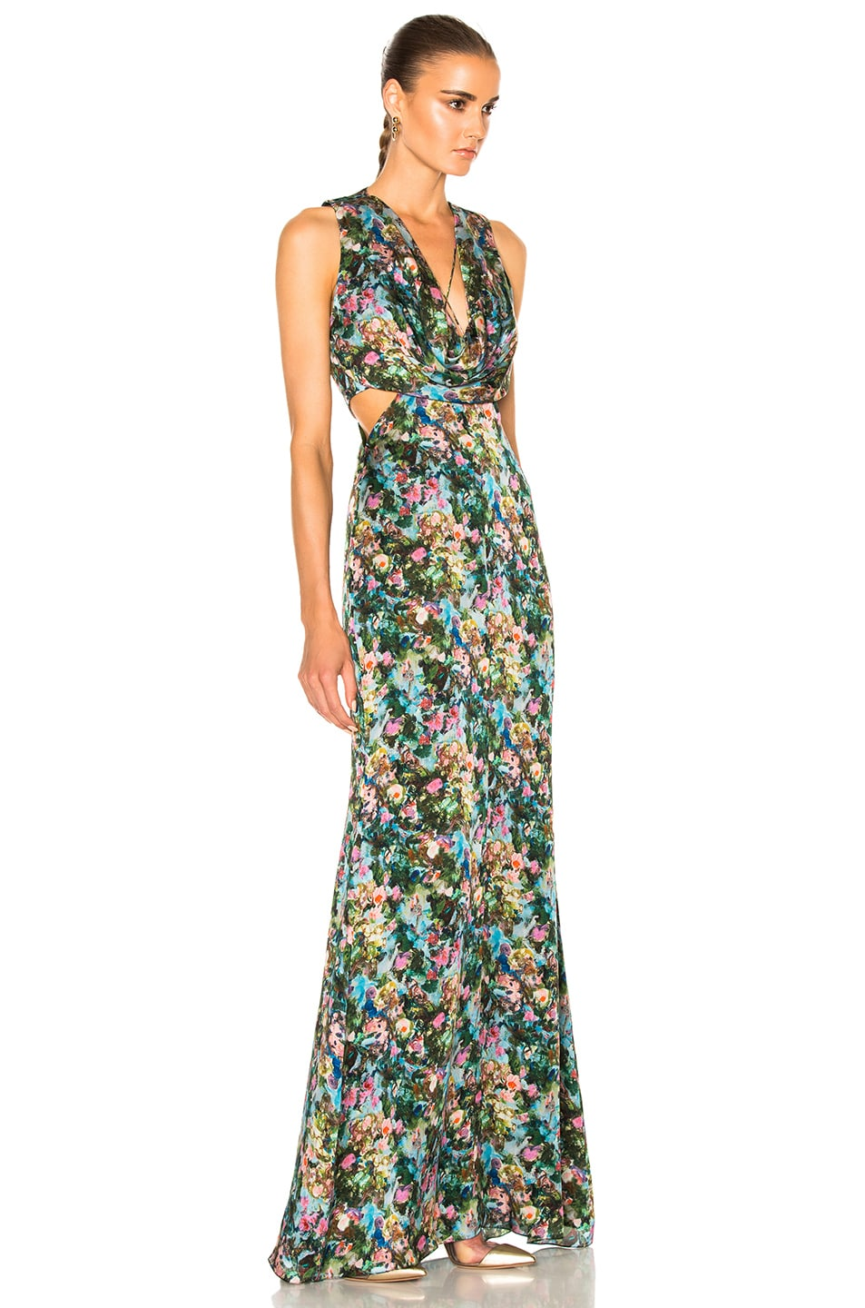 Image 3 of Cushnie et Ochs Christina Cowl Draped Gown in Floral Print