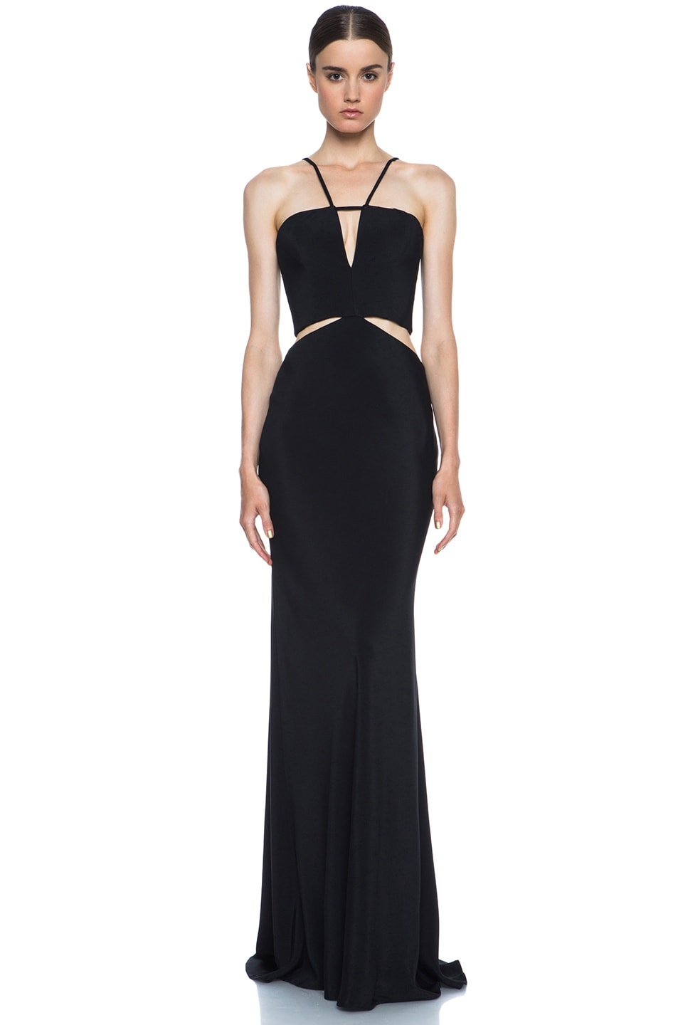 Image 1 of Cushnie et Ochs Silk Crepe Cut Out Dress in Black