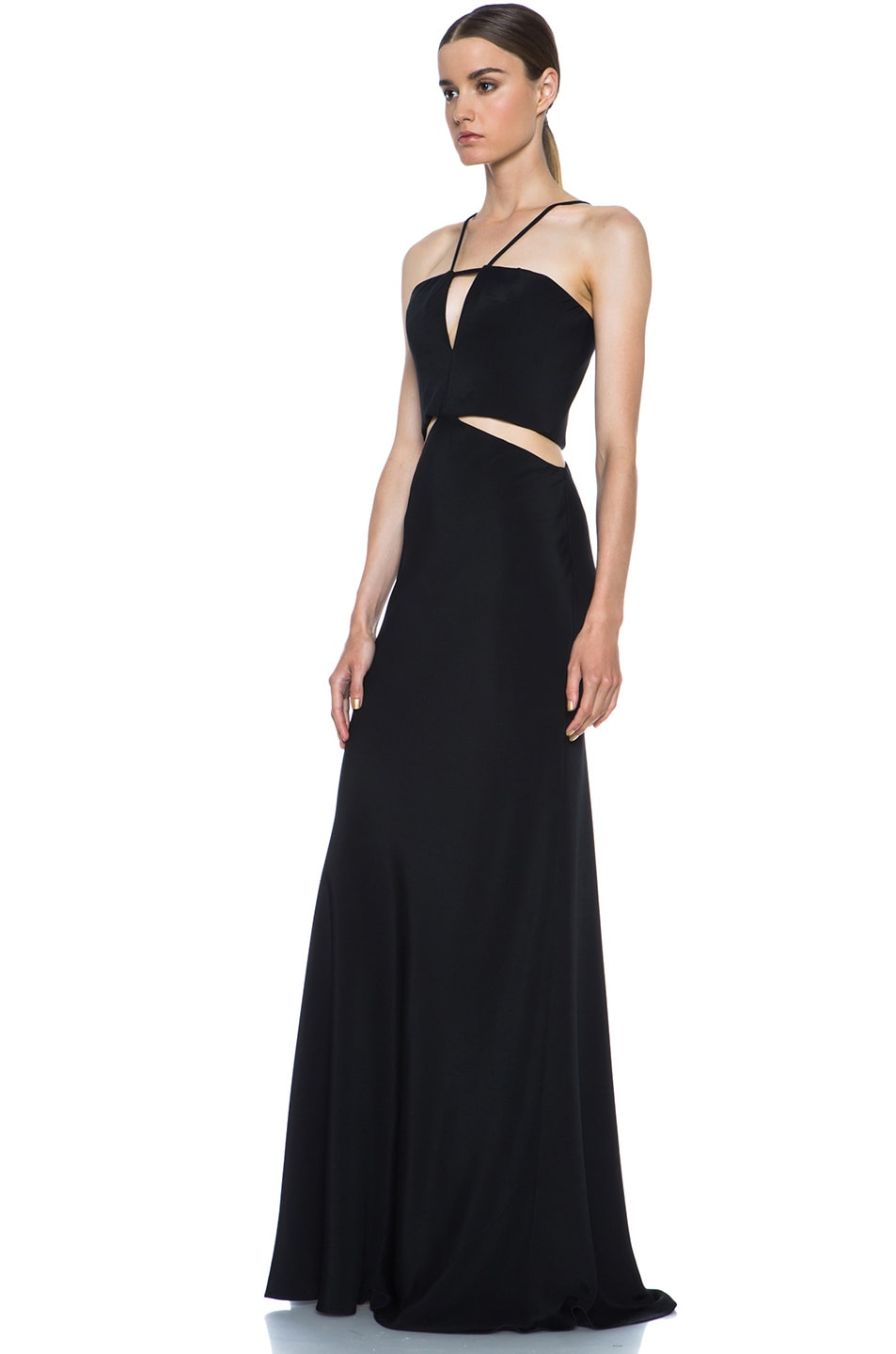 Image 2 of Cushnie et Ochs Silk Crepe Cut Out Dress in Black