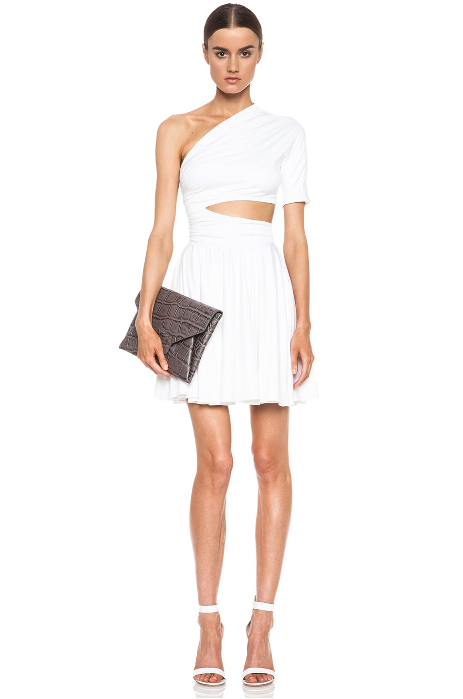 Image 1 of Cushnie et Ochs One Shoulder Cut Out Viscose-Blend Dress in White