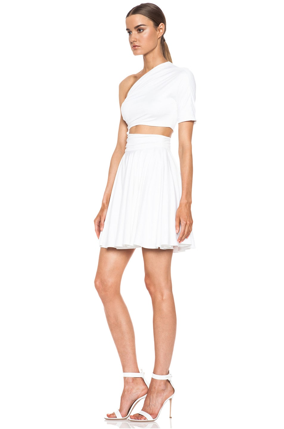 Image 2 of Cushnie et Ochs One Shoulder Cut Out Viscose-Blend Dress in White