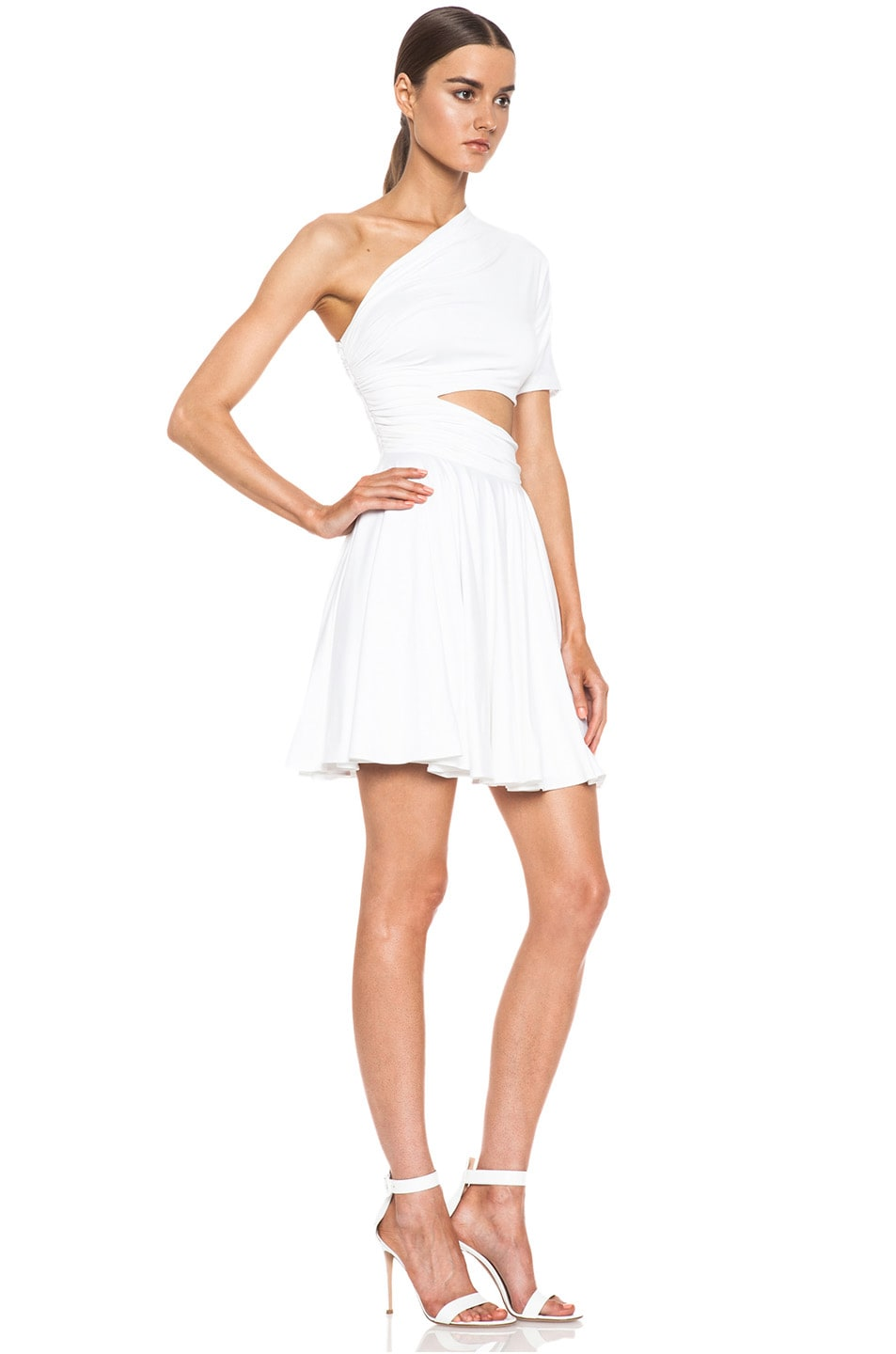 Image 3 of Cushnie et Ochs One Shoulder Cut Out Viscose-Blend Dress in White