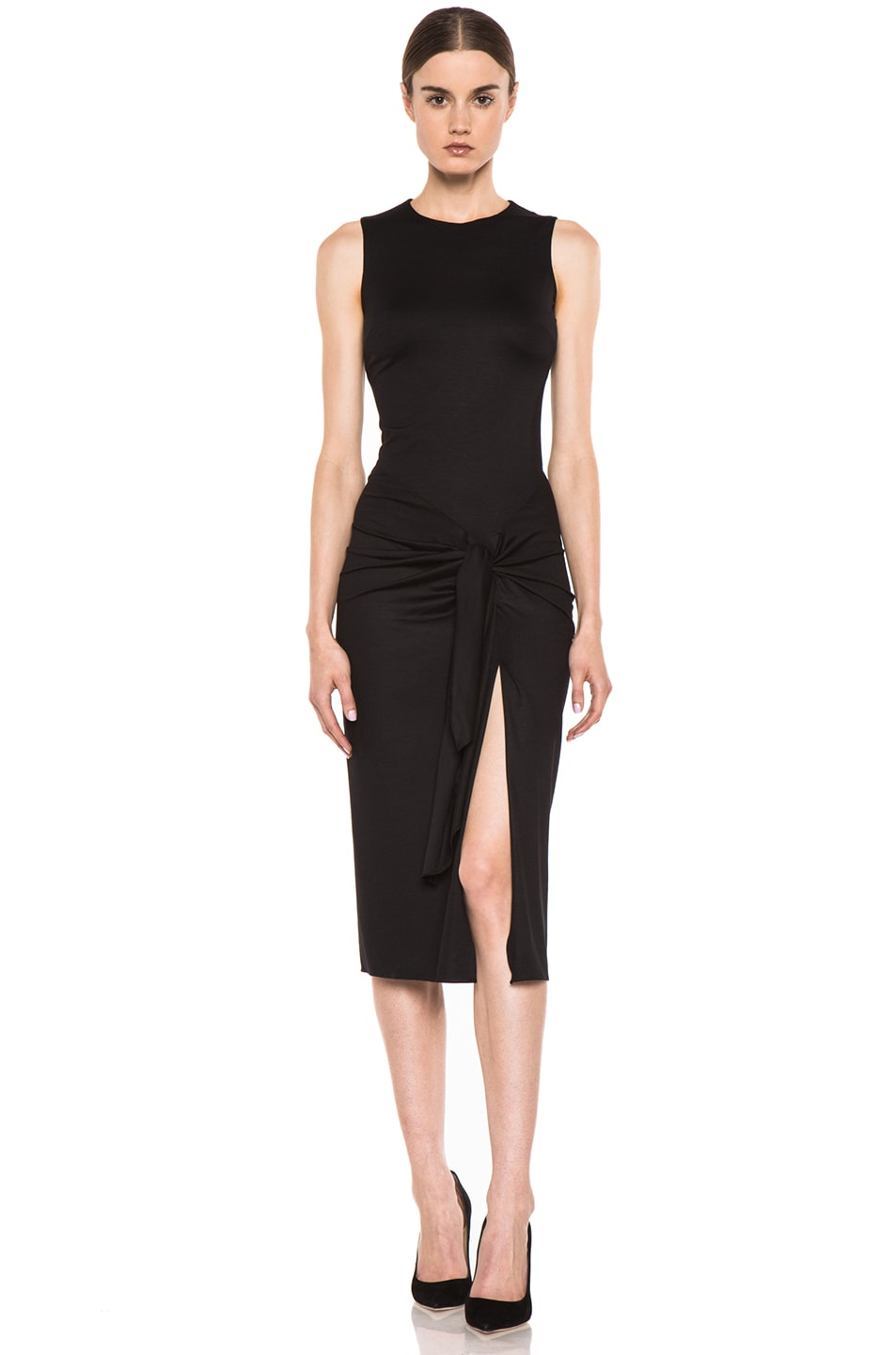 Image 1 of Cushnie et Ochs Viscose Jersey Sarong Dress in Black