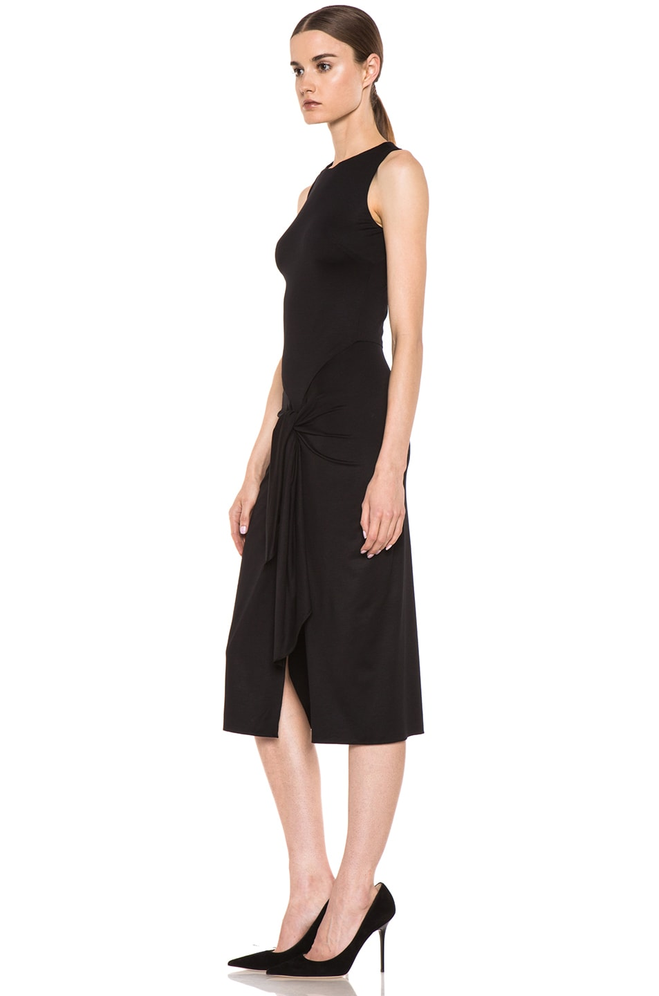 Image 2 of Cushnie et Ochs Viscose Jersey Sarong Dress in Black