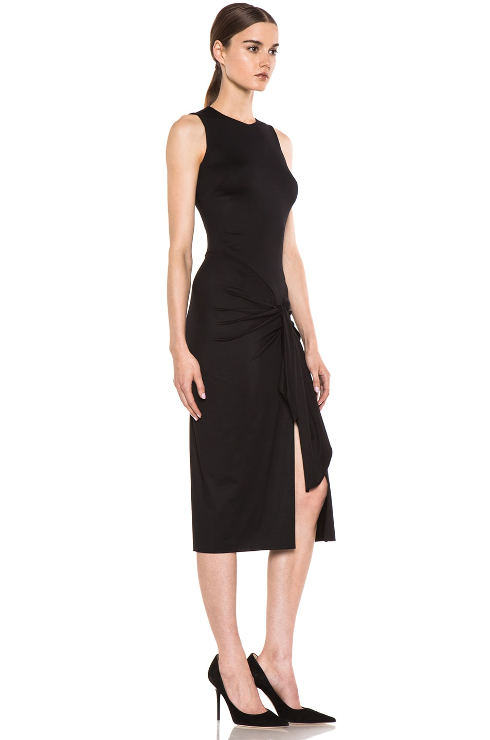Image 3 of Cushnie et Ochs Viscose Jersey Sarong Dress in Black