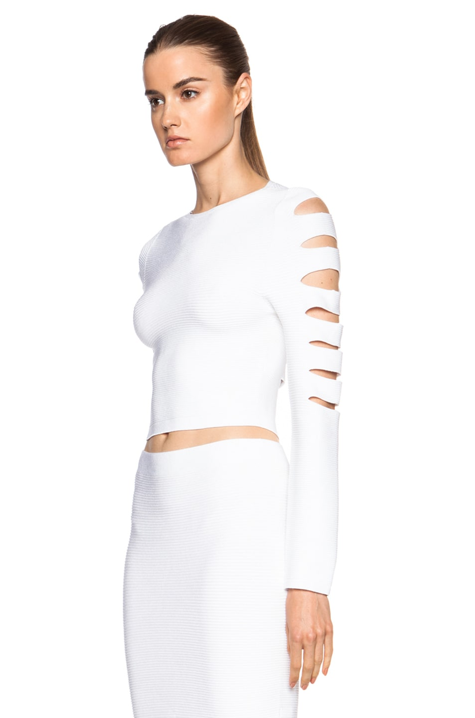 Image 2 of Cushnie et Ochs Cropped Cutout Viscose Sweater in White