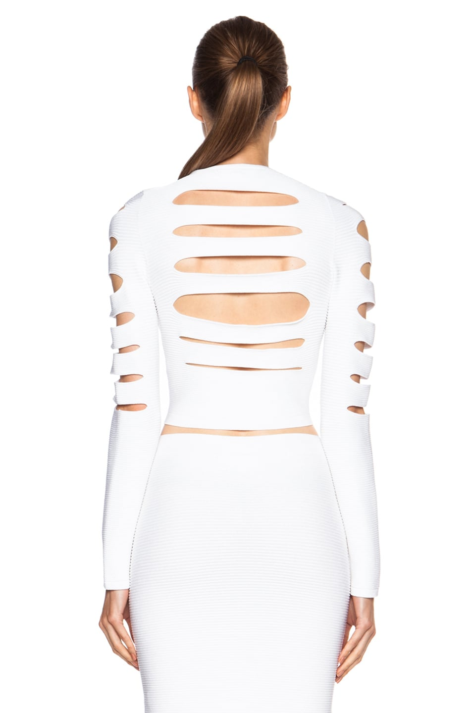 Image 4 of Cushnie et Ochs Cropped Cutout Viscose Sweater in White