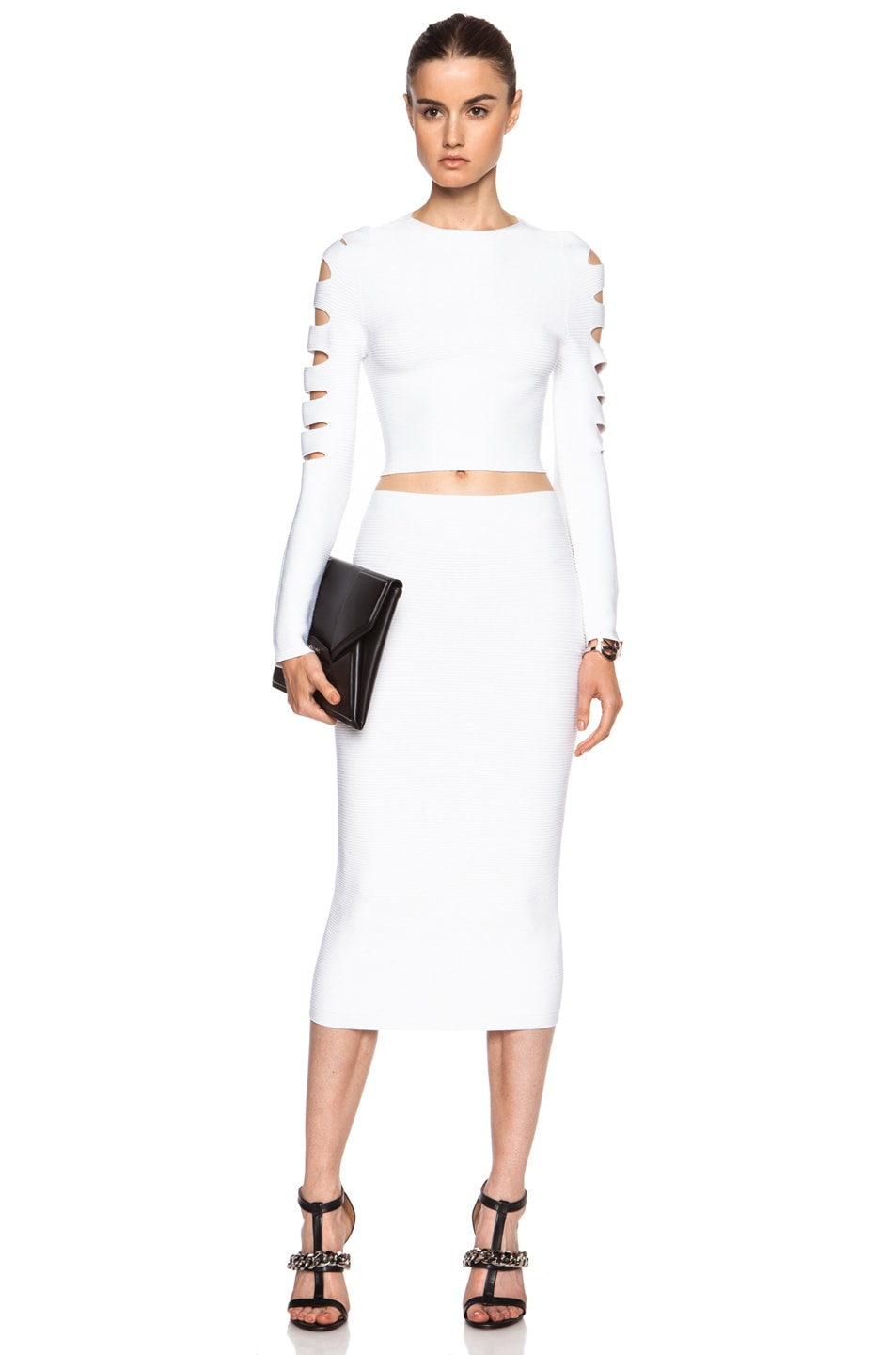 Image 5 of Cushnie et Ochs Cropped Cutout Viscose Sweater in White