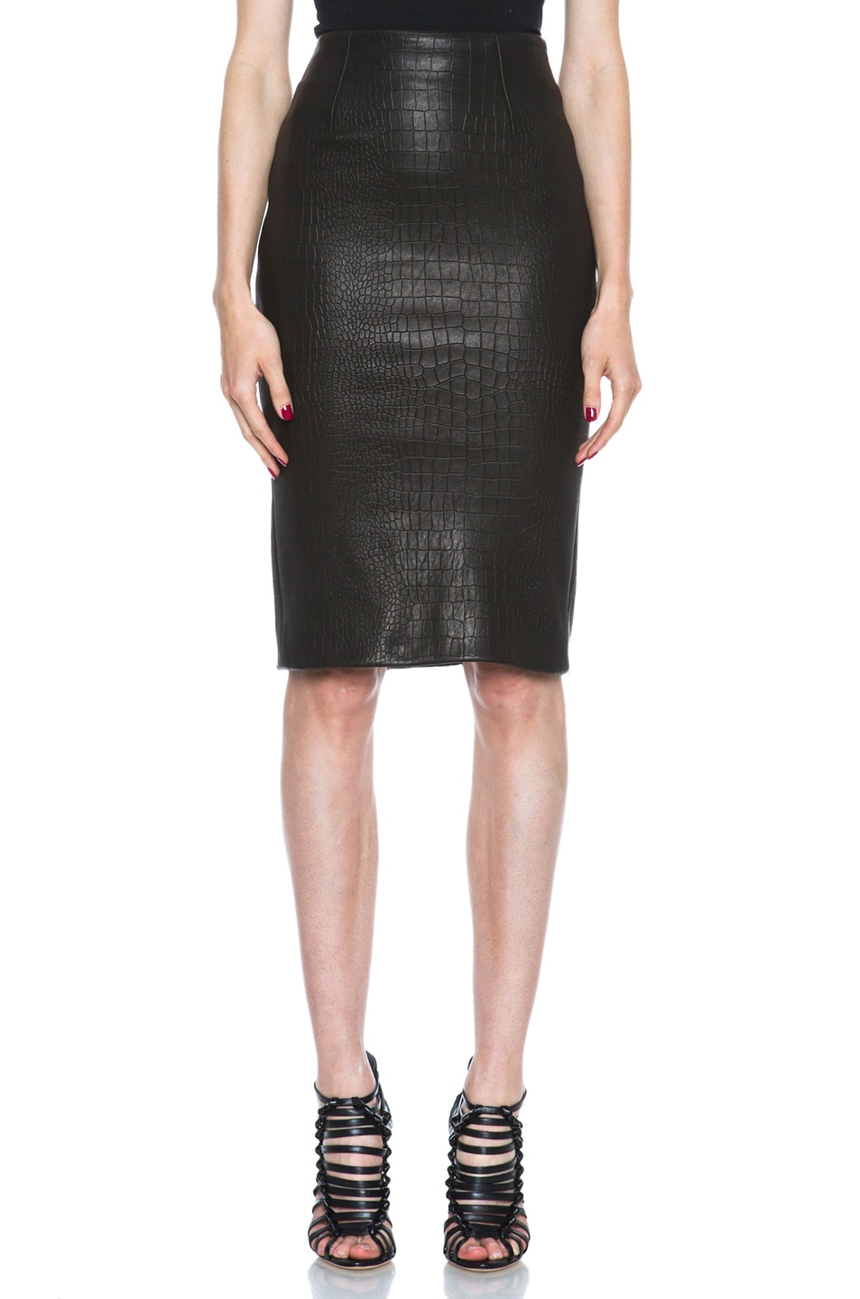 Image 1 of Cushnie et Ochs Croc Leather Skirt in Black
