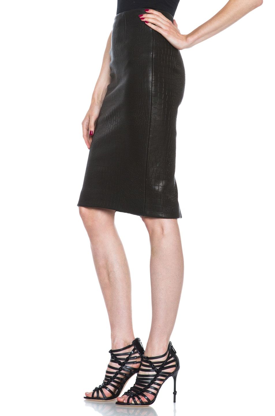 Image 2 of Cushnie et Ochs Croc Leather Skirt in Black