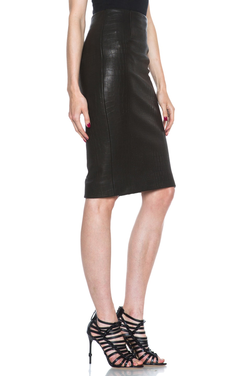 Image 3 of Cushnie et Ochs Croc Leather Skirt in Black