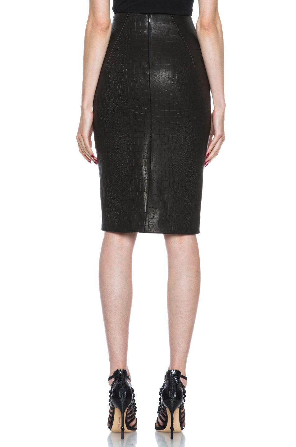 Image 4 of Cushnie et Ochs Croc Leather Skirt in Black