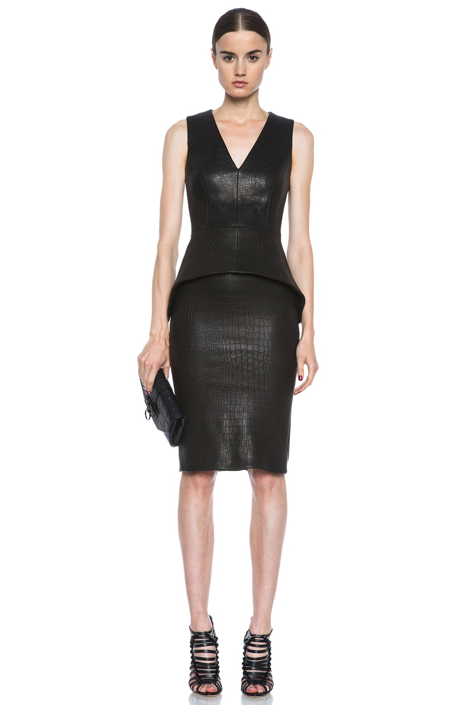 Image 5 of Cushnie et Ochs Croc Leather Skirt in Black
