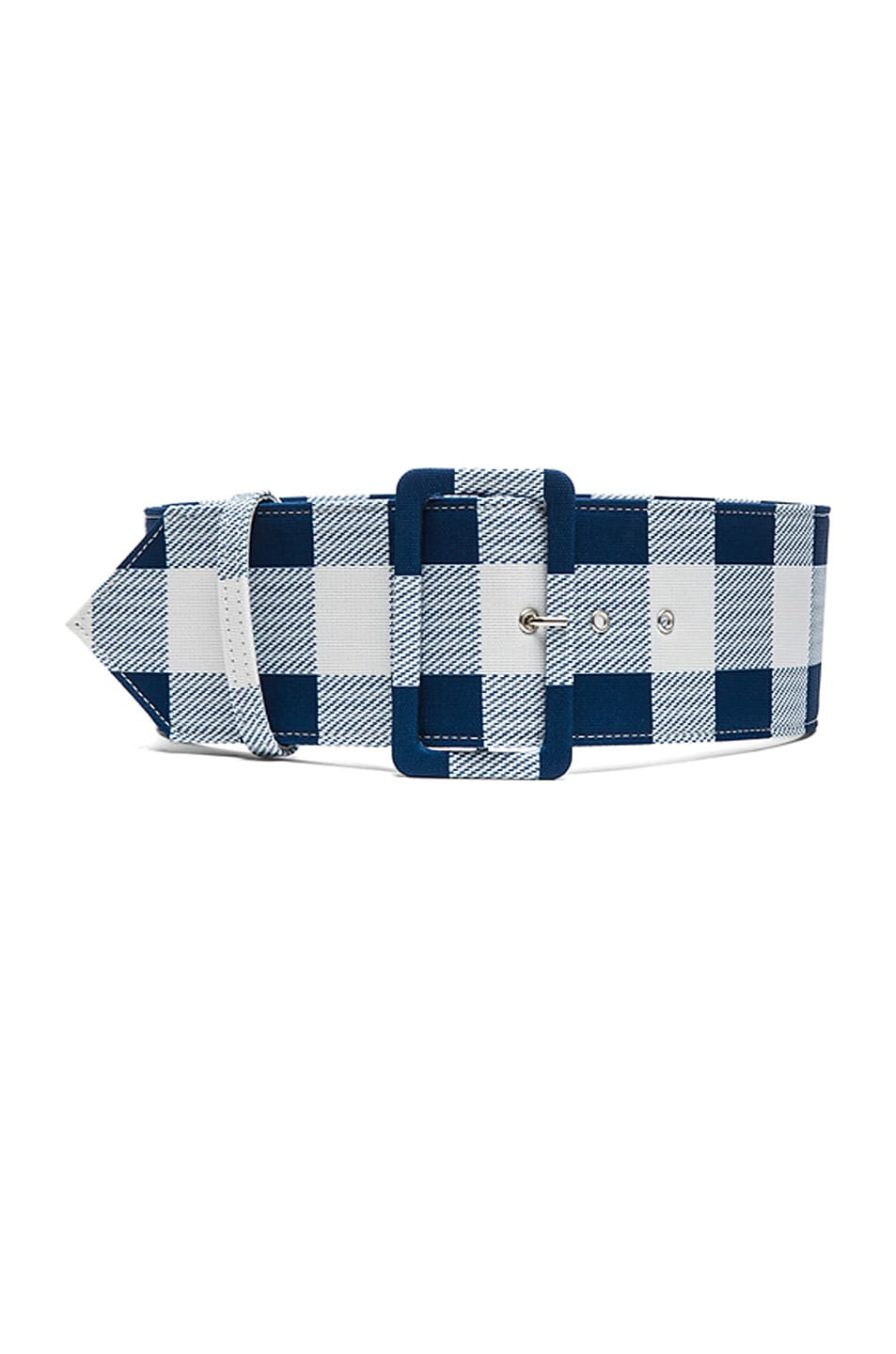 Image 3 of Derek Lam Plaid Faille Wide Belt in Lagoon