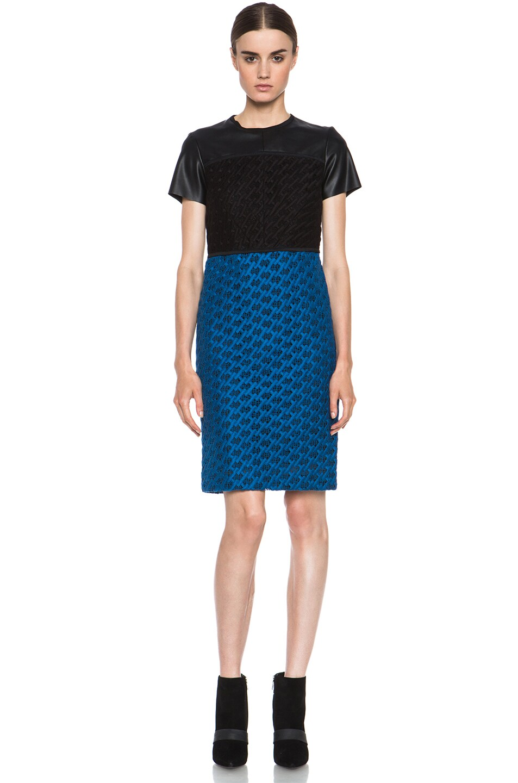 Image 1 of Derek Lam Guipure Cotton Dress in Cobalt & Black