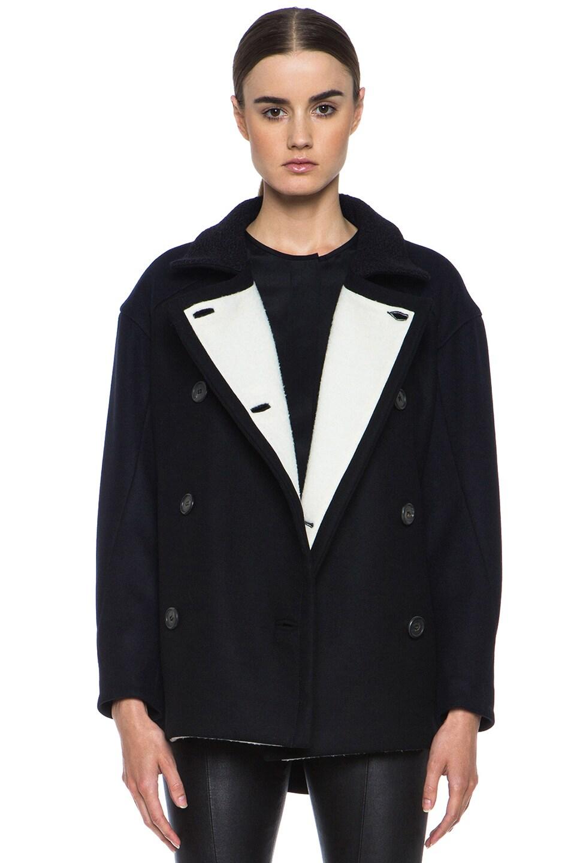 Image 1 of Derek Lam Wool Felt Coat in Navy & White