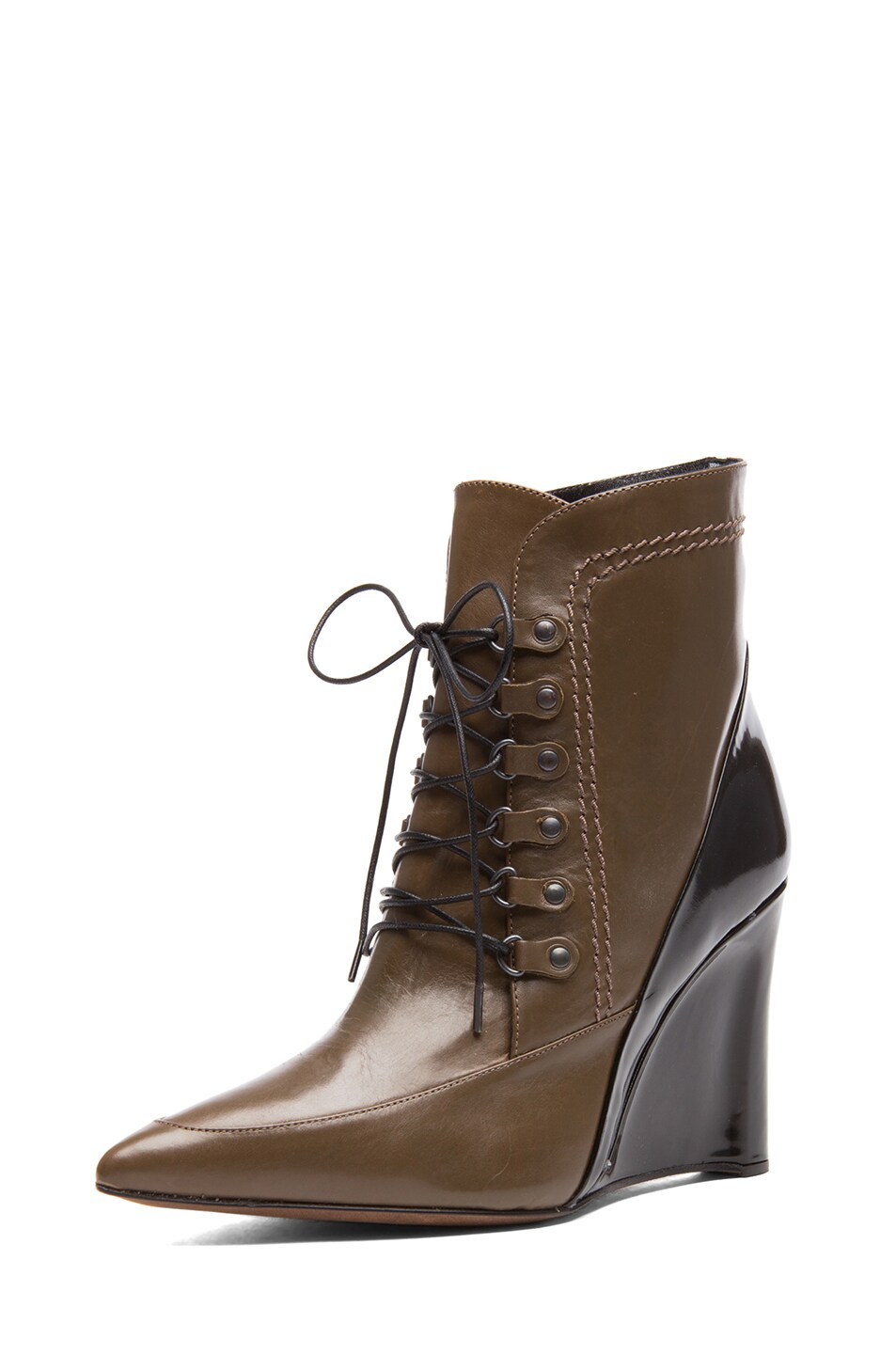 Image 2 of Derek Lam Maxine Calfskin Leather Pointy Toe Ankle Boots in Doe & Black