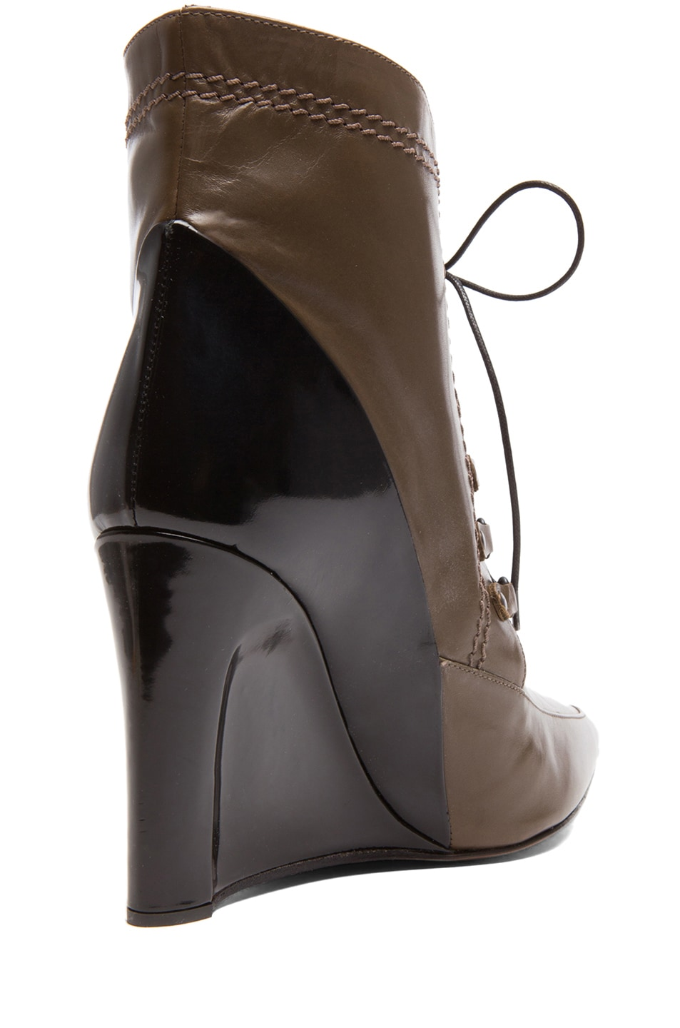 Image 3 of Derek Lam Maxine Calfskin Leather Pointy Toe Ankle Boots in Doe & Black