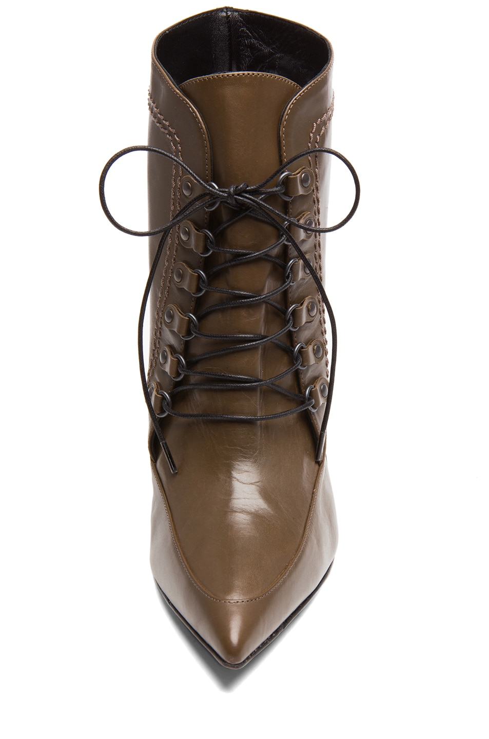 Image 4 of Derek Lam Maxine Calfskin Leather Pointy Toe Ankle Boots in Doe & Black