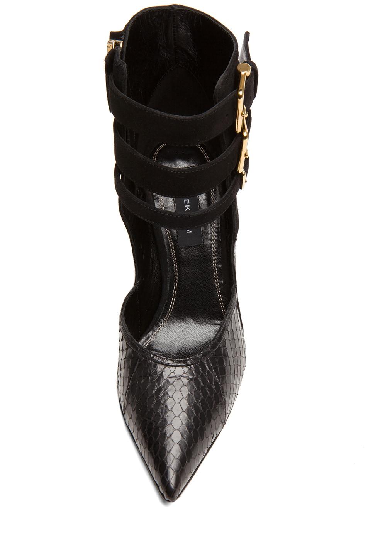 Image 4 of Derek Lam Paloma Whip Snake Heels in Black Whips & Suede