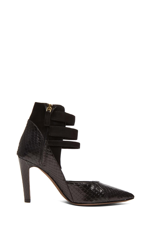 Image 5 of Derek Lam Paloma Whip Snake Heels in Black Whips & Suede