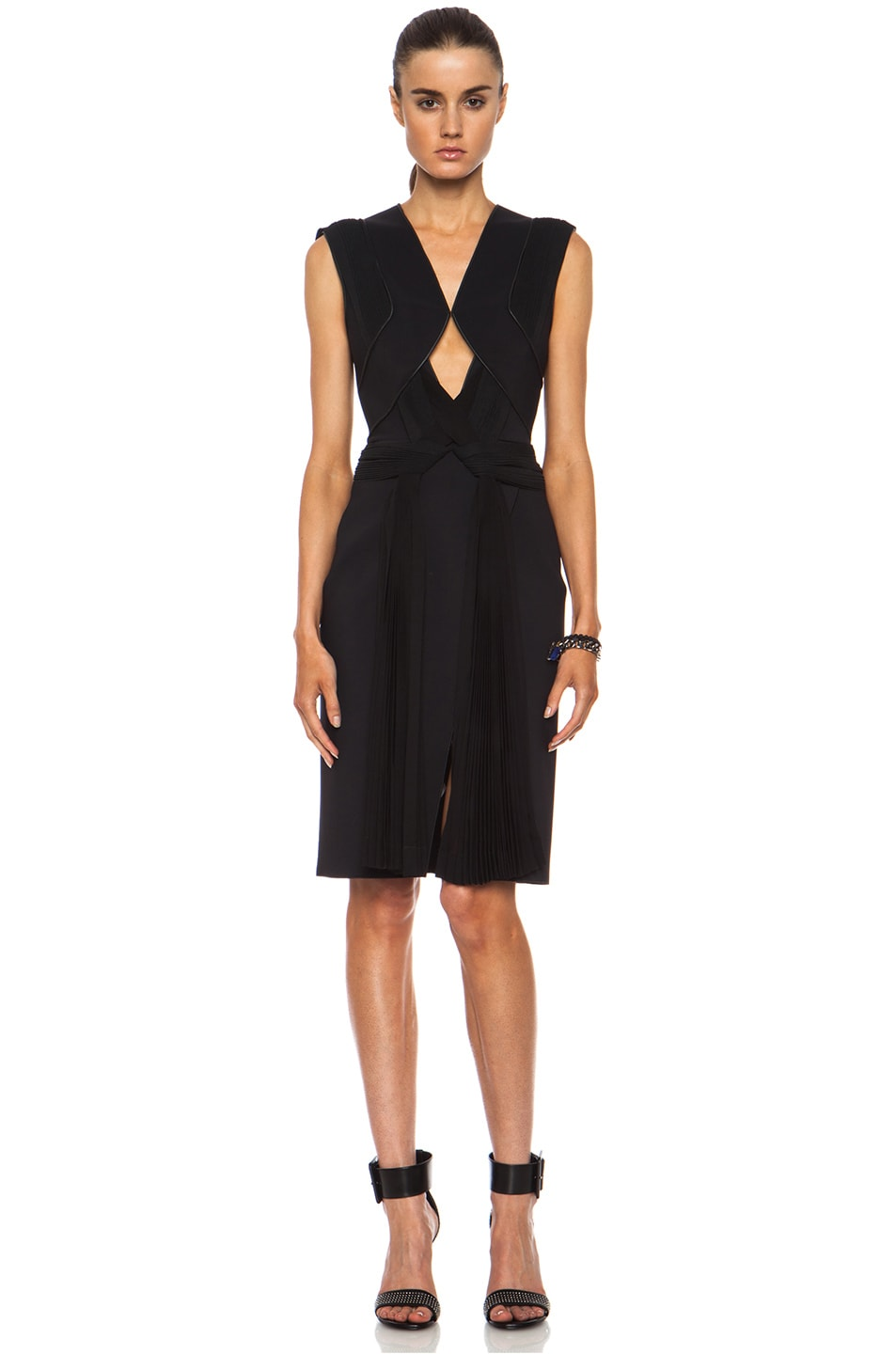 Image 1 of Dion Lee Neo Poly Pleat Shift Dress in Black