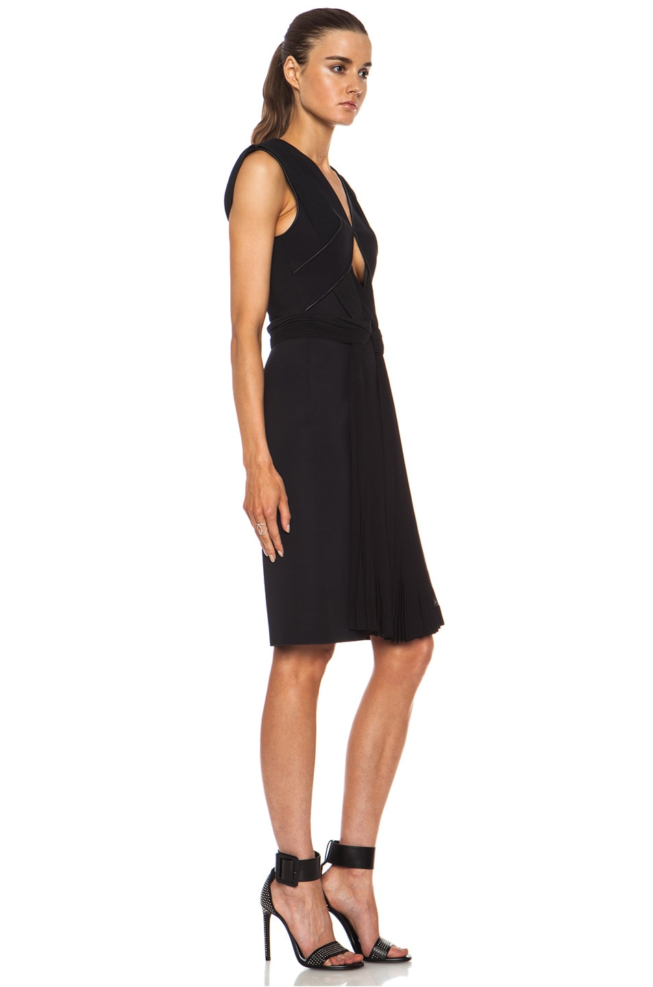 Image 3 of Dion Lee Neo Poly Pleat Shift Dress in Black