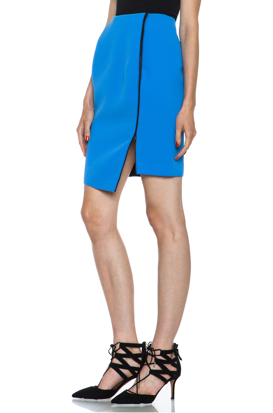 Image 2 of Dion Lee Bonded Crepe Skirt in Blue & Black