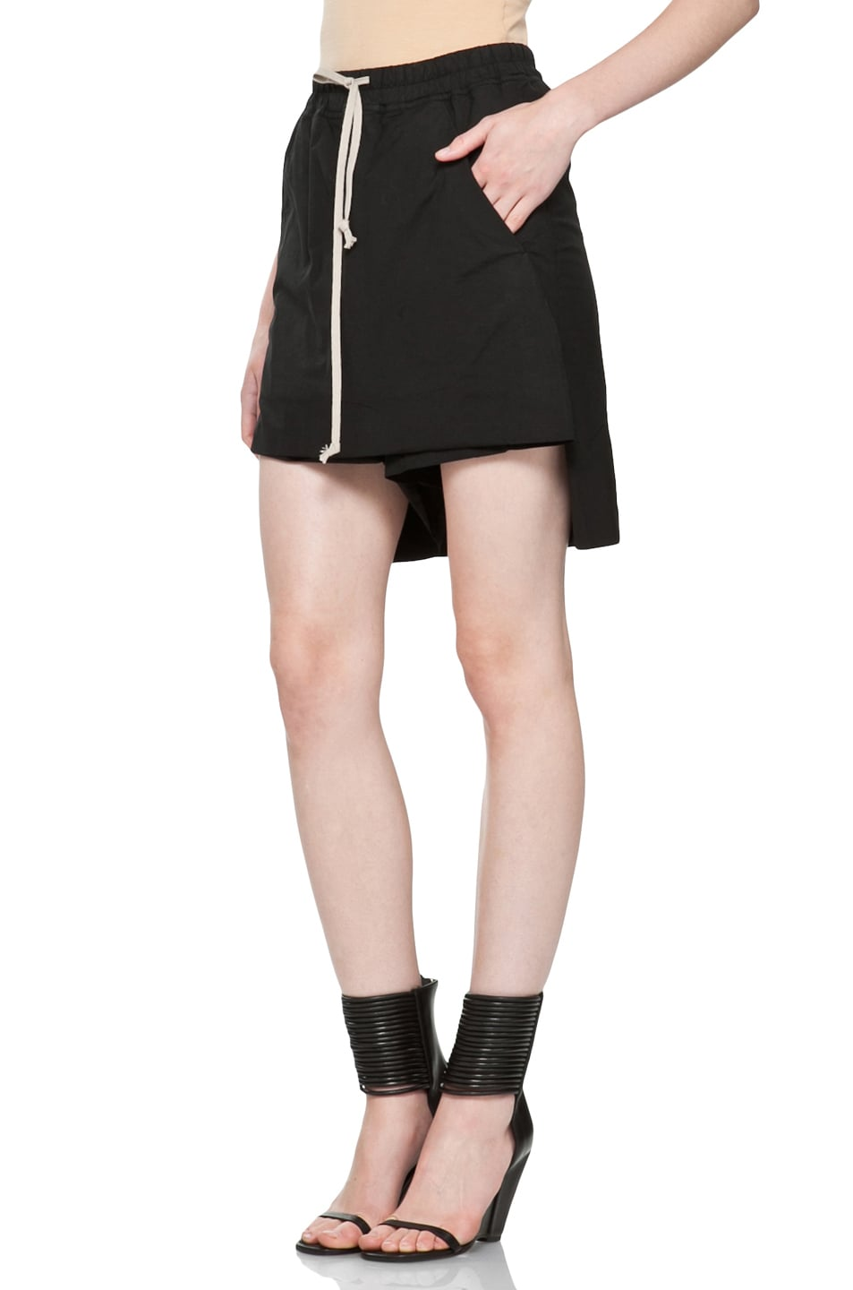 Image 2 of DRKSHDW by Rick Owens Popelin Stretch POD Shorts in Black