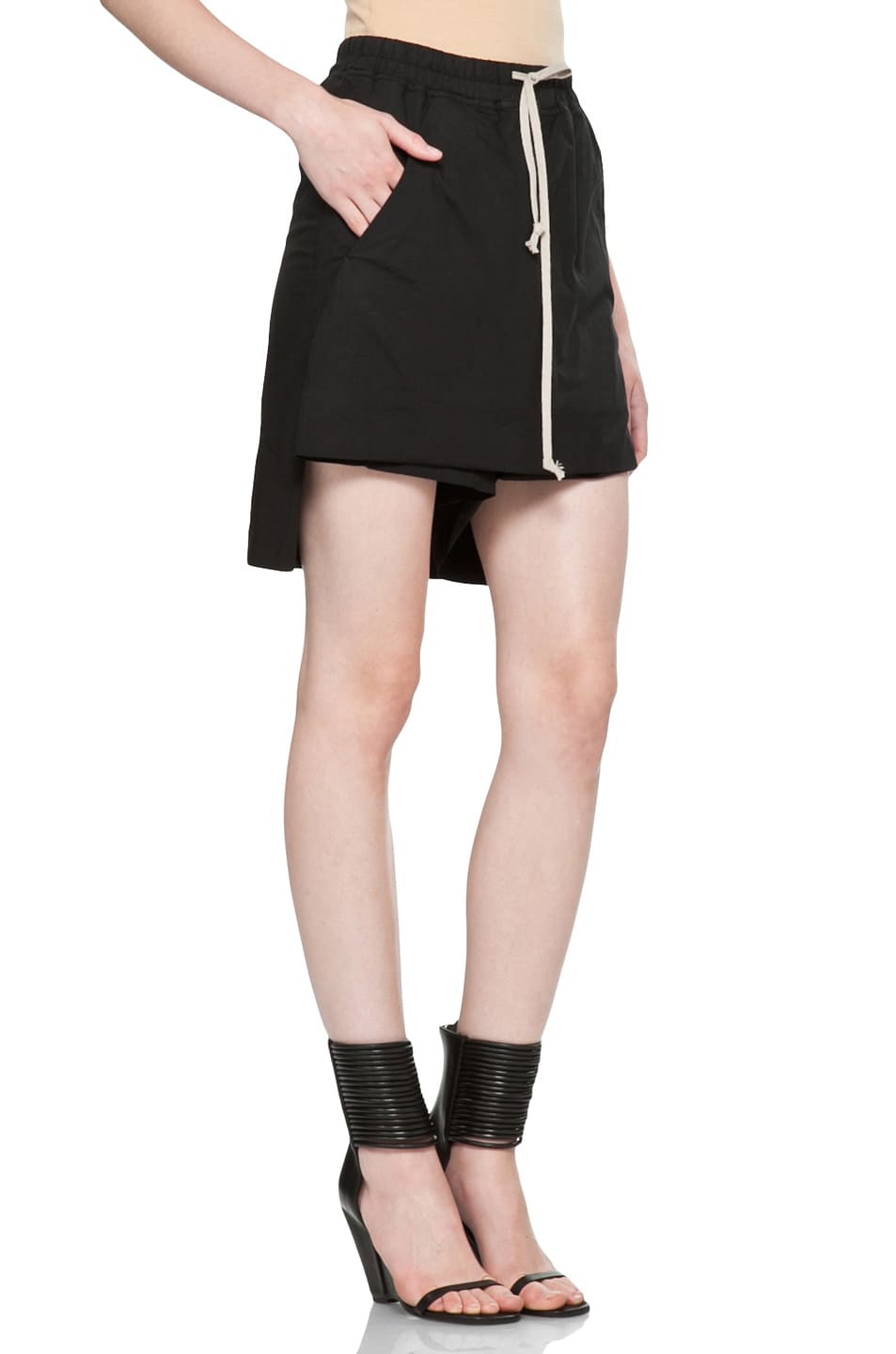 Image 3 of DRKSHDW by Rick Owens Popelin Stretch POD Shorts in Black