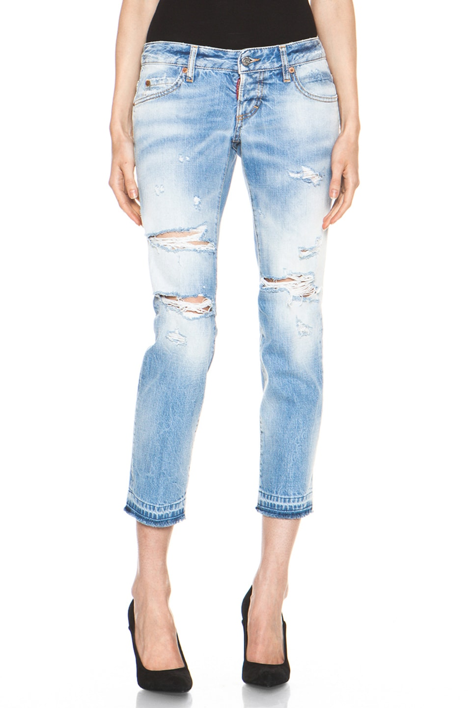 Image 1 of DSQUARED Slim Cropped Jean in Blue