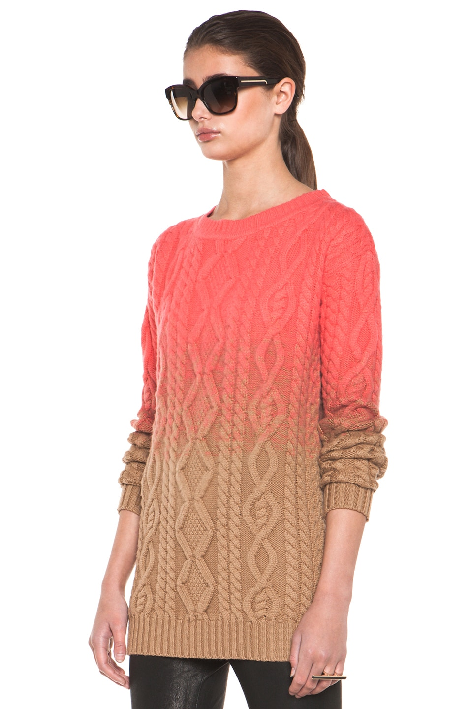 Image 2 of DSQUARED Chunky Knit Pullover in Coral